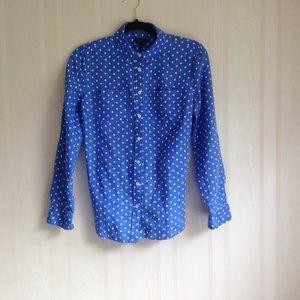 Talbots Periwinkle Blue Polka Dot Shirt
